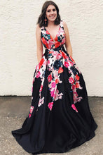 New Floral Print Black Long Prom Dress V-neck Formal Gown OP567