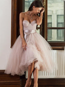 Strapless A-line Nude Pink Short Tulle Prom, Homecoming Dress With Sash, OP208
