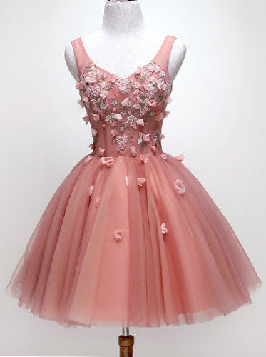 Chic Floral Appliques Sweet 16 Dress, A-line V-neck Peach Homecoming Dress OM466