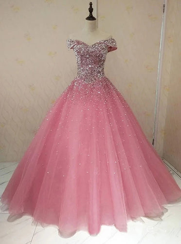 Sparkly Off-shoulder Ball Gown Prom Dresses Beaded Evening Dress PO282
