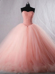Sweetheart Pearls Long Prom Dresses, Quinceanera Ball Gown PO281