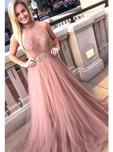 Chic Halter Formal Prom Dress Tulle Lace Appliques A Line Evening Dress PO240