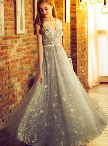 A Line Silver Long Prom Dress Tulle V-neck Formal Dress PO243