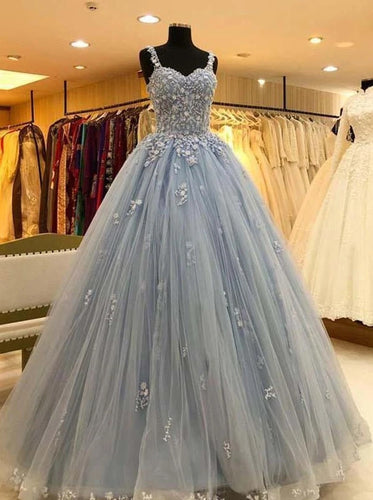 Ball Gown Straps Long Prom Dress Blue Lace Appliques Quinceanera Dress PO241