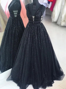 Sparkly Long A Line Black Prom Dresses, Cheap V-neck Sequins Party Dresses PO280