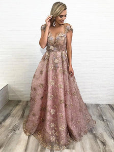 Sheer Neckline Cap Sleeves Long Prom Dresses With Appliques PO278