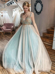 A-Line V Neck Tulle Beading Prom Dresses Plus Size Evening Dress PO277