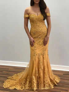 Off Shoulder Lace Appliques Mermaid Prom Dresses Gold Evening Dress PO284