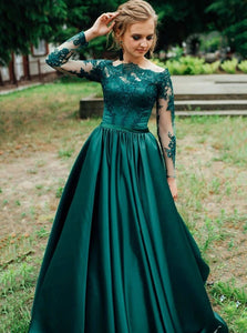 Off-shoulder Lace Long Sleeves Satin Hunter Prom Evening Dresses PO261