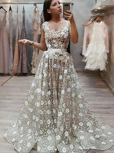 A Line Square Long Prom Dress With Appliques, Straps Formal Evening Dress PO279