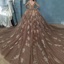 Vintage Sheer Neck Ball Gown Prom Dress, Long Sleeves Evening Dress PO283
