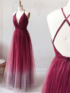 Burgundy V-neck Tulle Ombre Long Prom Dresses Backless Evening Dress PO263