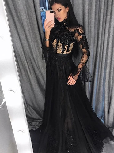 Black Lace Long Sleeve Prom Dresses Tulle High Neck Evening Dress PO268