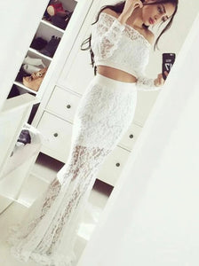 Off Shoulder Long Sleeves Mermaid Lace Prom Dresses Two Piece Evening Dress PO285