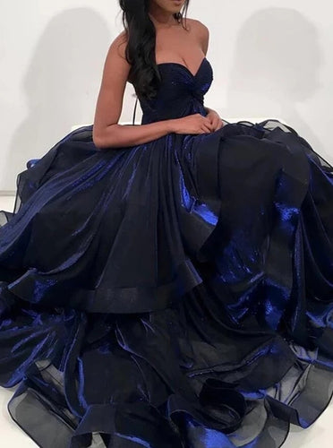 Sweetheart Dark Royal Blue Prom Dresses Organza Long Formal Dress PO266