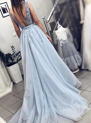 Tulle Light Blue Long Prom Dress A Line Long Beading Formal Dress PO265