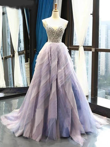A Line V-neck Tulle Ombre Prom Dresses Beading Long Evening Dress PO267