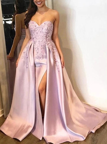 A Line Satin Sweetheart Appliques Long Prom Dresses With Split PO286