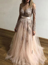 Sheer Round Neck Lace Long Sleeves Tulle Prom Party Dresses PO248