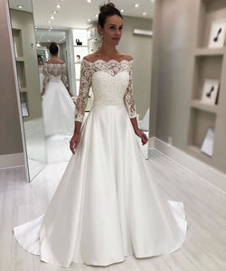 Cheap Sweetheart Lace 3/4 Sleeves Satin Wedding Dress OM905