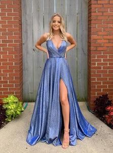 A-line V-neck Blue Long Prom Dresses Formal Gown With Split PO198