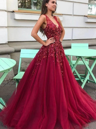 Long V-neck Sequins Beading Prom Dresses Fuchsia Party Dresses PO191