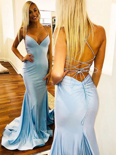 Light Sky Blue Backless Long Prom Dresses Mermaid Evening Party Dress PO199