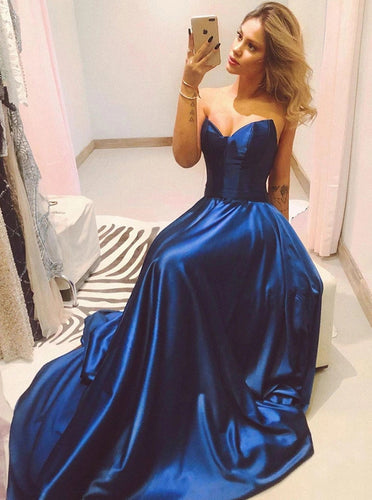 Dark Royal Blue Strapless Satin Simple Long Prom Evening Dress PO200