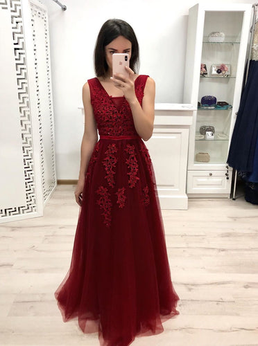 A-line V-neck Appliques Tulle Prom Dresses Burgundy Long Bridesmaid Dress PO196