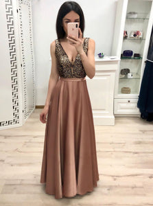 V-neck Satin Long Prom Dresses, A-line Formal Gown With Beading PO194