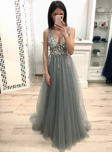Sparkly Dusty Grey A-line V-neck Beading Long Prom Party Dresses PO193
