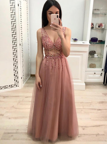 Skin Pink A-line V-neck Sparkle Beading Long Prom Party Dresses PO192