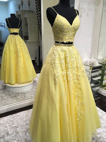 Daffodil Two Pieces Long Prom Dress A-line V-Neck with Applique Beaded PO208