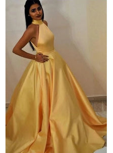 Halter Satin Yellow Prom Dresses Simple Long Formal Gown PO214
