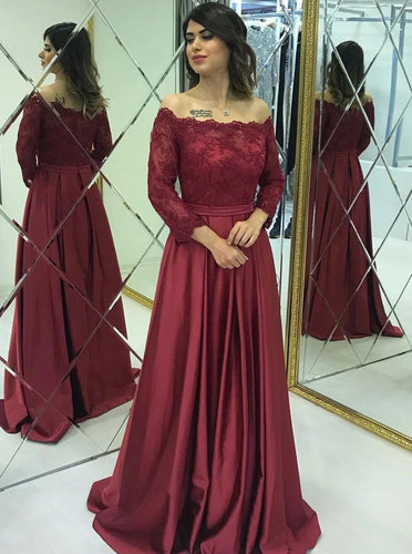 Modest Lace Long Sleeves Satin Burgundy Prom Evening Dresses PO174