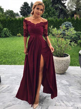 Off-Shoulder Burgundy Prom Dress Half Sleeves A-line Party Gown With Slit OP599