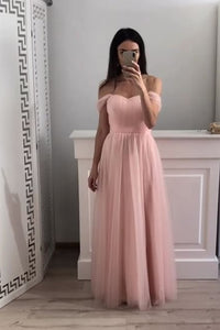 Off-Shoulder Chiffon Long Prom Gown Pink Bridesmaid Dresses OP466