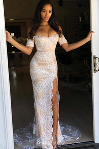 Off-Shoulder Long Prom Dress with Short Sleeves Sheath Slit Evening Gown OP633