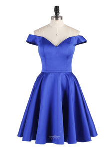 Off-Shoulder Sweetheart Satin A-line Royal Blue Short Prom Party Dresses, OP164