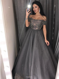 Off-the-Shoulder Grey Tulle Beaded Sleeves Long Prom Dress OP515