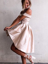 A-Line Off-the-Shoulder Satin Asymmetry Hi-Lo Prom Dress with Pleats, OM104