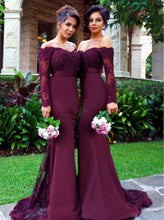 Off-the-Shoulder Long Sleeve Purple Mermaid Prom Dresses With Embroidery, OP219