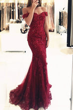 Off-the-Shoulder Mermaid Tulle Beaded Burgundy Prom Evening Dress OP402
