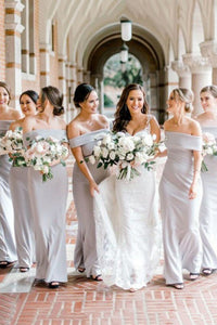Off-the-Shoulder Sheath/Column Long Bridesmaid Dresses OB190