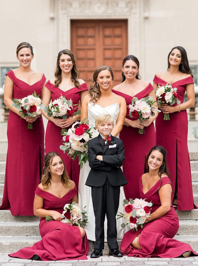Off-the-Shoulder Sheath Burgundy Simple Bridesmaid Dresses With Split OB174