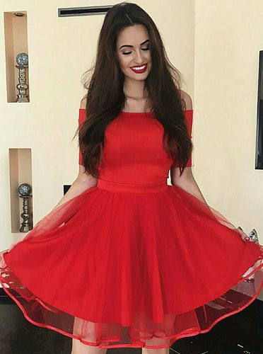 Elegant Off-the-Shoulder Short Tulle Red Homecoming Party Dress OP196