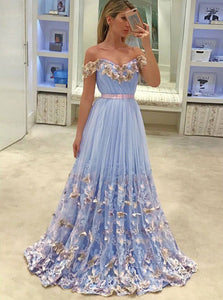 Off-the-Shoulder Tulle Butterfly Appliques Long Prom Dresses OP475