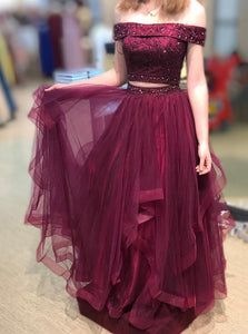 Off Shoulder Burgundy Prom Dress Two Piece Layered Beaded Graduation Gown OP668