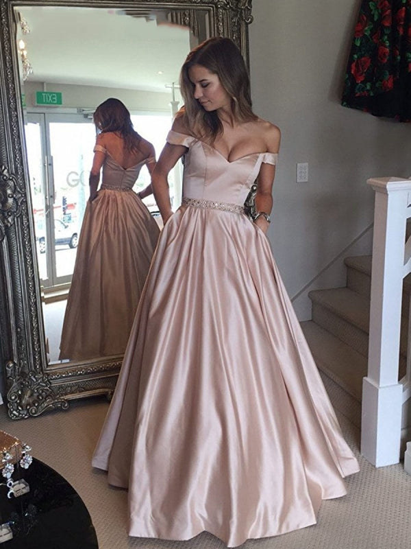 A Line Off The Shoulder Waist Beaded Satin Long Prom Dresses Formal