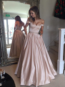 A-line Off-the-Shoulder Waist Beaded Satin Long Prom Dresses, Formal Dresses UK, OP199